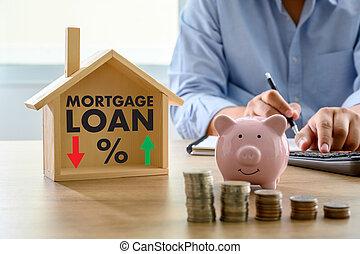 inköp, begrepp, finansiell, pengar, lån, överenskommelse, påstående, hus, färsk