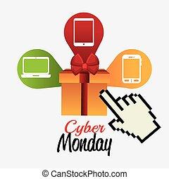 inköp, cybernetiska, måndag, design.