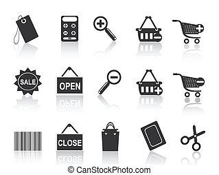 inköp, e-commerce, svart, ikon, sätta