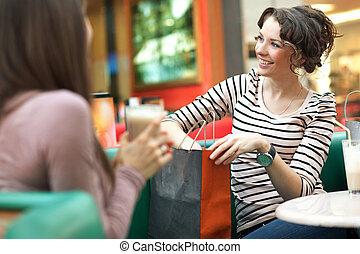 inköp, efter, talande, bedöva, vän, kvinnor