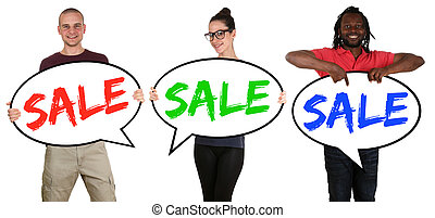 inköp, folk, försäljning, ung, anförande, bubblar, lycklig