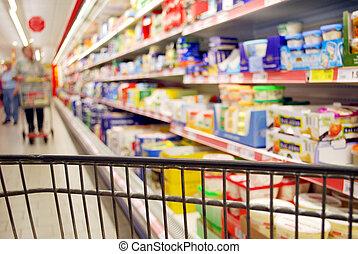 inköp, folk, hylla, supermarket, suddig, svarat