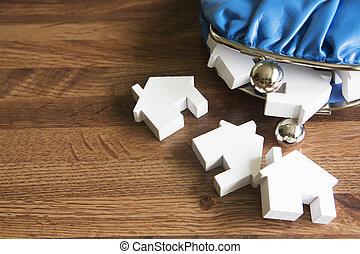 inköp, hus, portmonnä, hus, modell, ändring, illustrera