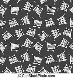 inköp, mönster, seamless, kärra, bakgrund, monokrom