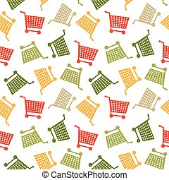 inköp, mönster, seamless, kärra, colorfull, bakgrund