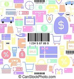 inköp, seamless, bakgrund, icon., mönster