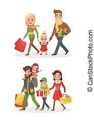 inköp, släkt dag, vektor, jul, uppköp, lycklig