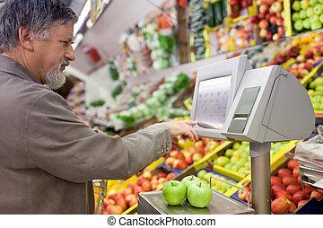 inköp, supermarket, frukt, frisk, äldre bemanna, stilig