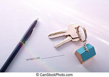 inköp, underteckna, begrepp, avtal, hus