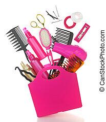 inköp, utrustning, isolerat, väska, olika, vit, hairstyling