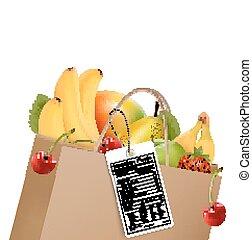 inköp, vector., hälsosam, väska, frukt, label., näringsämne