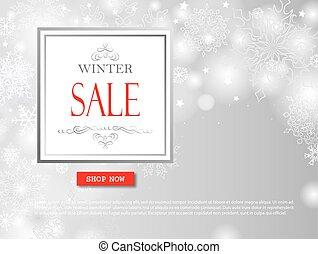 inköp, vinter, snö, lettering., över, suddig, grå, försäljning, bakgrund., bakgrund, helgdag, baner, snöflingor