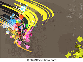 ink abstract with grunge background