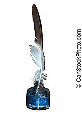 ink and quill - a feather quill and a display ink pot,...