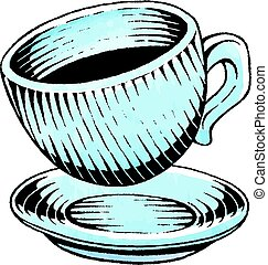 Ink and Watercolor Sketch of a Coffee Cup