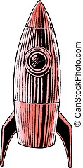 Ink and Watercolor Sketch of a Rocket