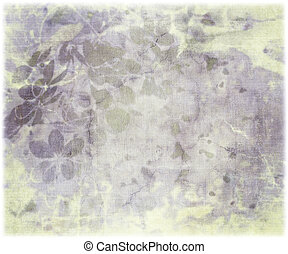 Ink blossom print on antique ribbed paper