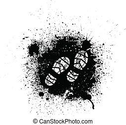 Ink blots and footprint - Black ink blots and white...