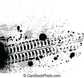 Ink blots background - Black tire track with grunge blots