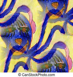 ink blue monster blot splatter background isolated on white hand