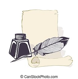 ink bottle and feather quill, ancient paper background. vector illustration