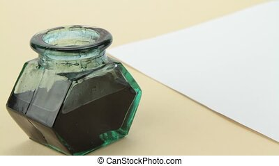 Ink bottle, quill pen and parchment 1920 x 1080p HD video