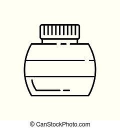 Ink Bottle Thin Line Icon Illustration Design