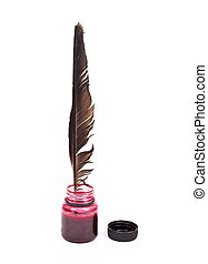Ink bottle with the feather