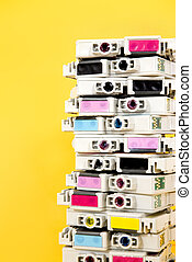 Ink cartridges exhausted stacked on