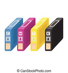 Ink cartridges in cartoon style isolated on white background. Typography symbol stock vector illustration.