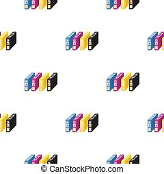 Ink cartridges in cartoon style isolated on white background. Typography pattern stock vector illustration.