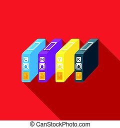 Ink cartridges in flate style isolated on white background. Typography symbol stock vector illustration.