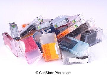 Ink Cartridges - Pile of used olor ink cartridges