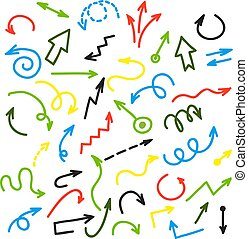 Ink colorful arrows. Vector group of drawing arrow on white background