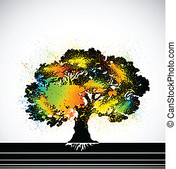 Ink colorful tree. Vector