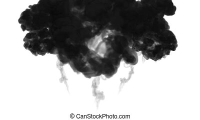 ink dissolves in water on white background with luma matte. 3d render of computer simulation. Black inks inject in water. many streams 3