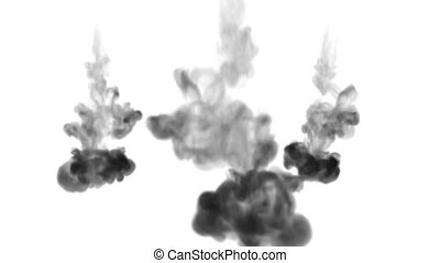 ink dissolves in water on white background with luma matte. 3d render of computer simulation. Black inks inject in water. many streams 2