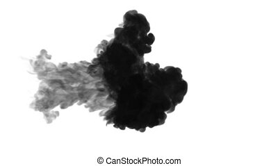 ink dissolves in water on white background with luma matte....