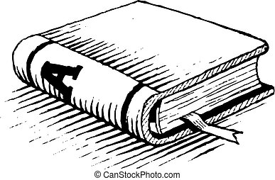 Ink Drawing of a Black Book Vector Illustration