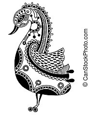 ink drawing of tribal ornamental bird, ethnic pattern, black...