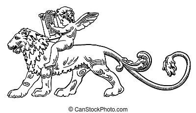 Heraldic lion with angel make music