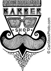 Ink drawn barber shop emblem - Vector illustration of old ...