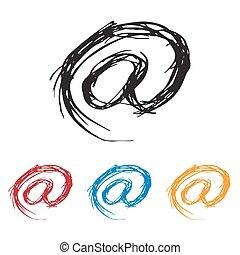 Ink drawn Sketchy At Mail Symbol - Sketchy At Mail Symbol in...