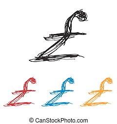 Ink drawn Sketchy Pound Money Symbol - Sketchy Pound Money ...