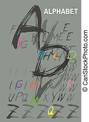 Ink drawn typography Sketchy Alphabet - Sketchy Colorful ...