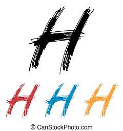 Ink drawn typography Sketchy Letter H - Sketchy Letter H in ...