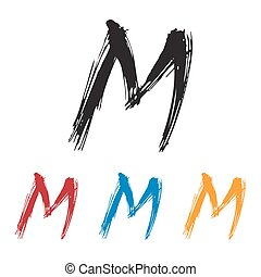Ink drawn typography Sketchy Letter M - Sketchy Letter M in ...