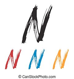 Ink drawn typography Sketchy Letter N - Sketchy Letter N in ...