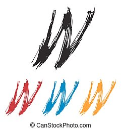 Ink drawn typography Sketchy Letter W - Sketchy Letter W in ...