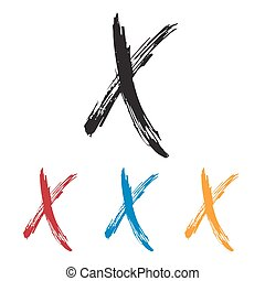 Ink drawn typography Sketchy Letter X - Sketchy Letter X in ...